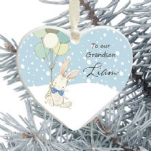 Granddaughter/Grandson Keepsake Heart Christmas Tree Decoration - Cute Bunny and Balloons Design